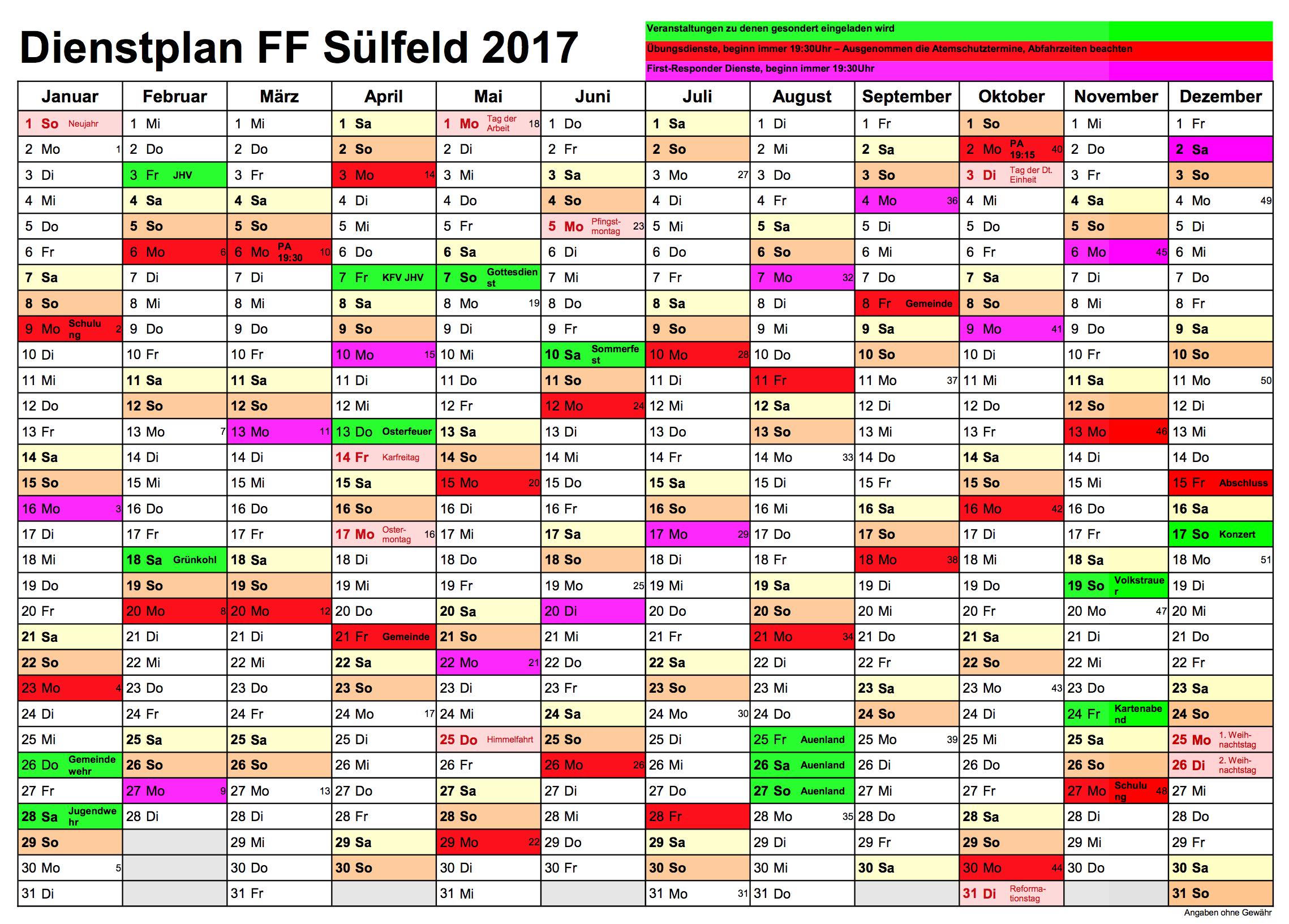 Dienstplan 2017